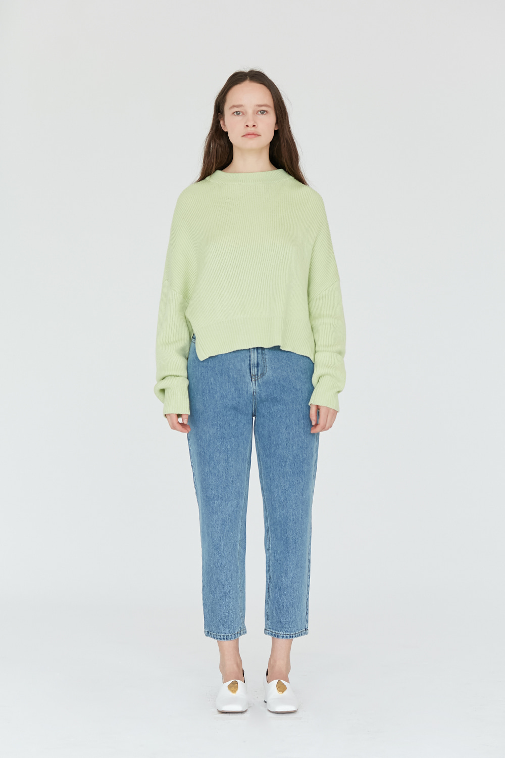 Slit Knit Crewneck Women [Lime]