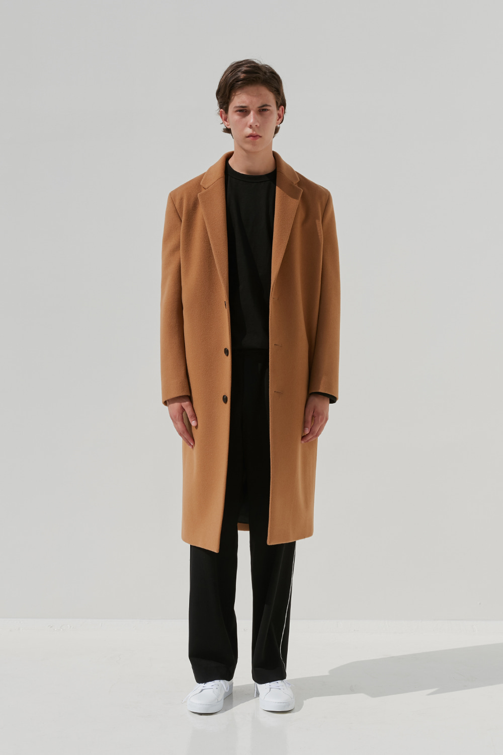 Minimal Wool Coat Men [Beige]