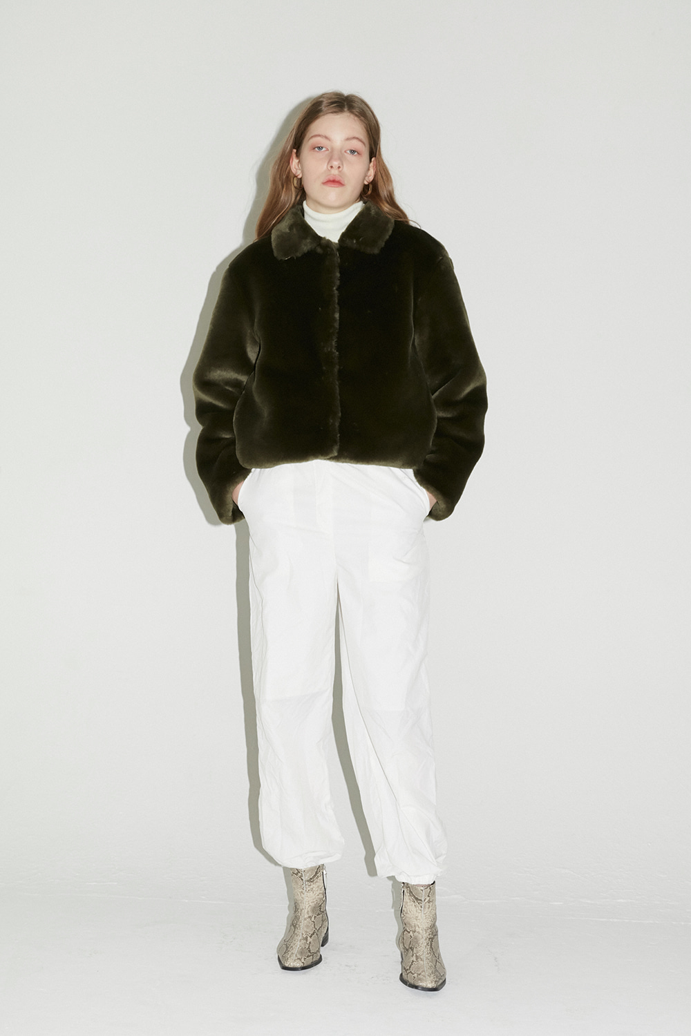 Fur Crop Jacket Women [Khaki]
