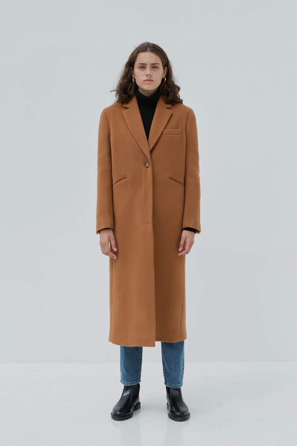 One Button Long Single Coat Women [Beige]