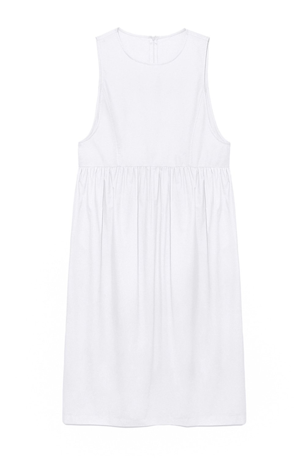 Sleeveless Shirring Dress Women [White]