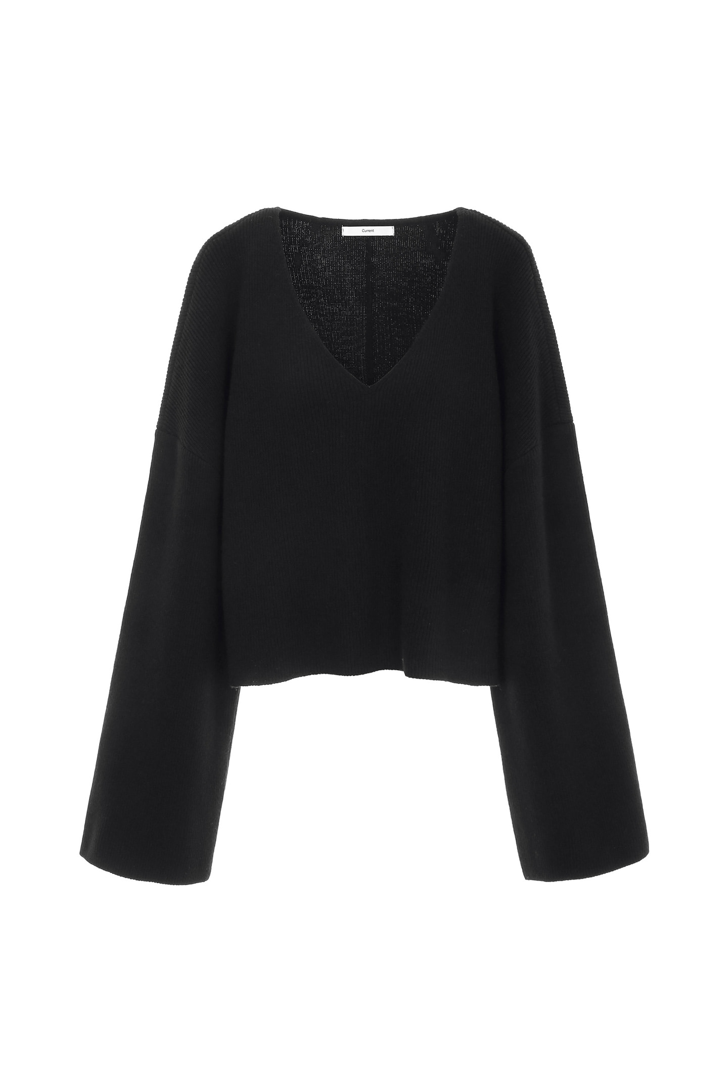 V-Neck Knit Crewneck [Black] -60%