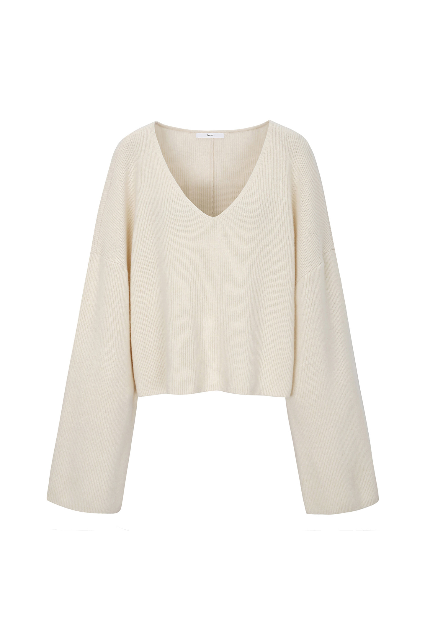 V-Neck Knit Crewneck [Ivory]