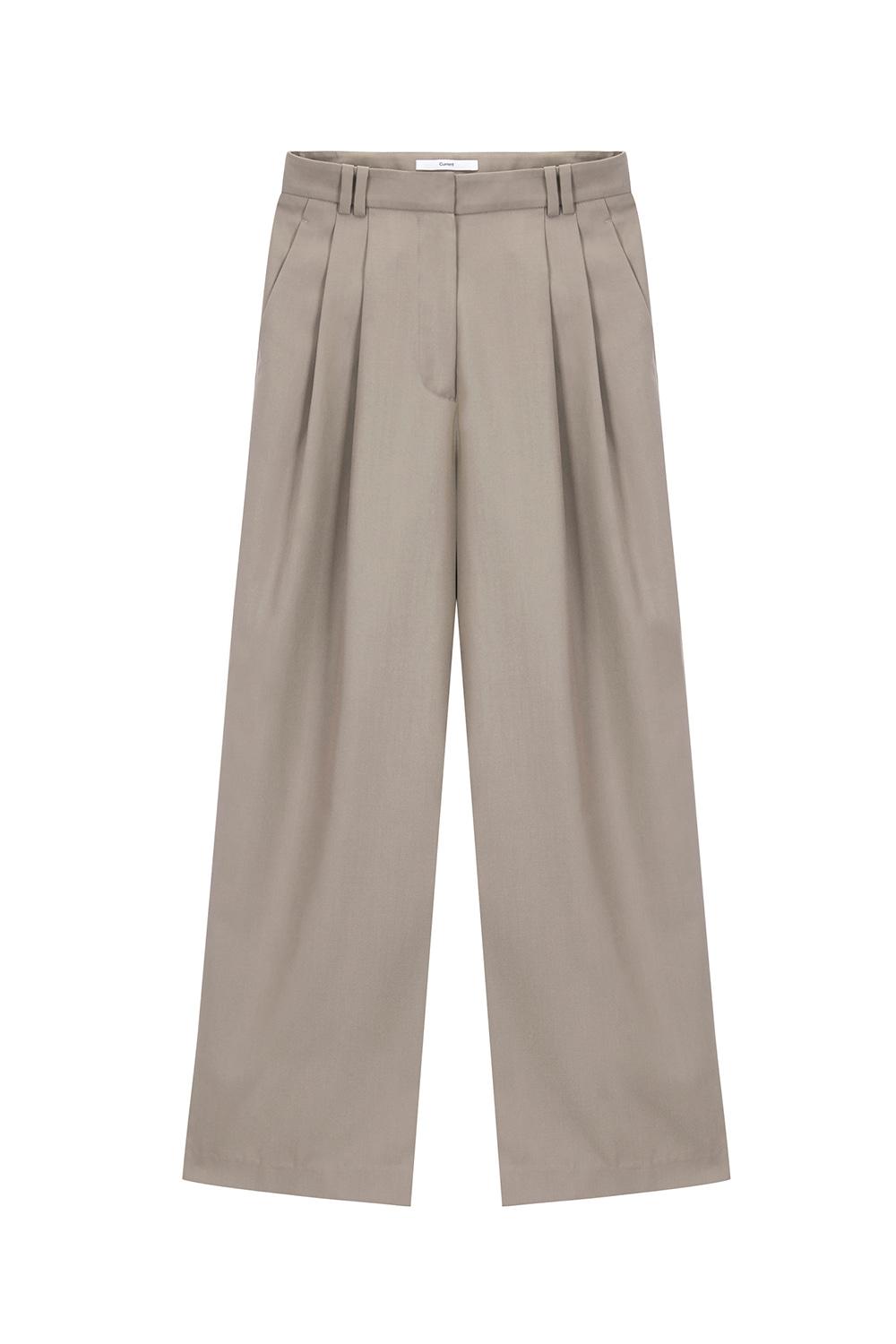 Two Tuck Wide Leg Pants Women [Dark Beige]