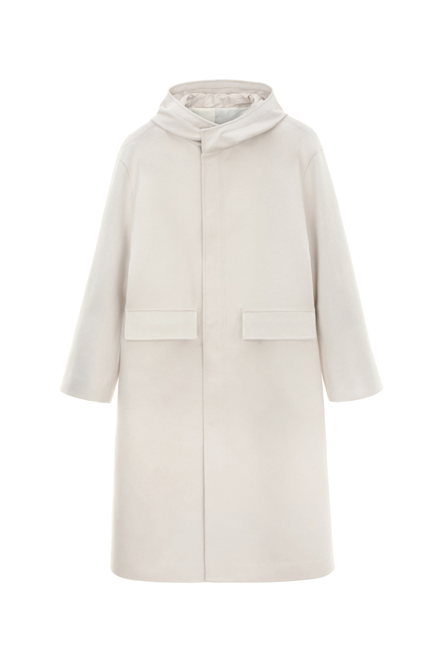 Cashmere Hooded Coat Men [Cream]