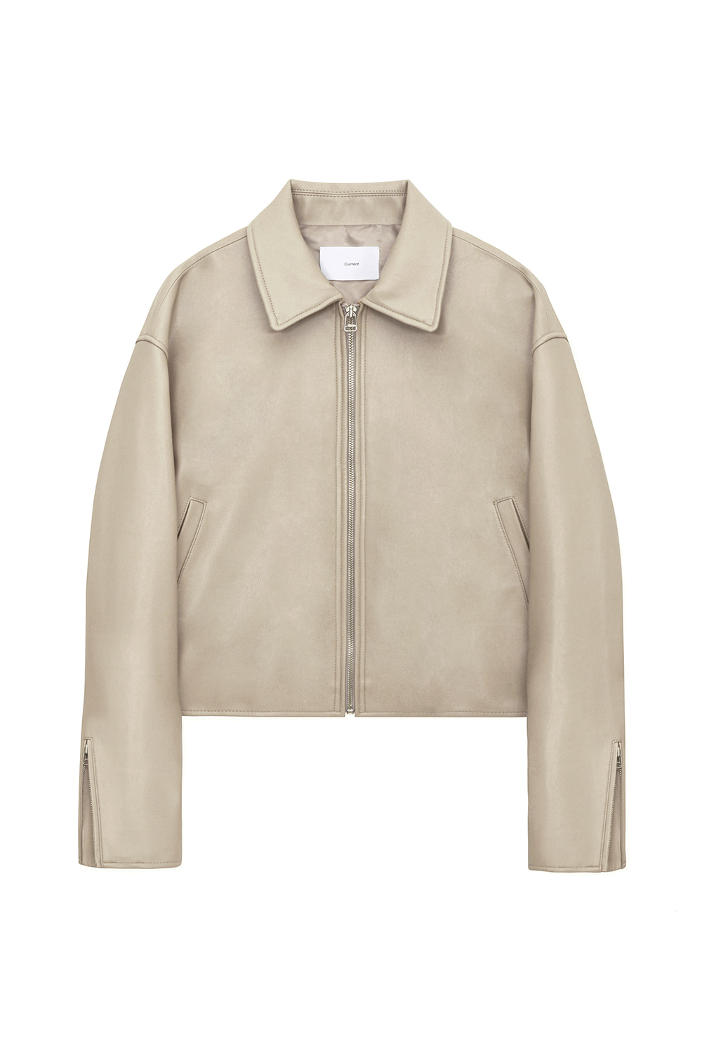 Single Leather Jacket Women JA [Beige] -10%