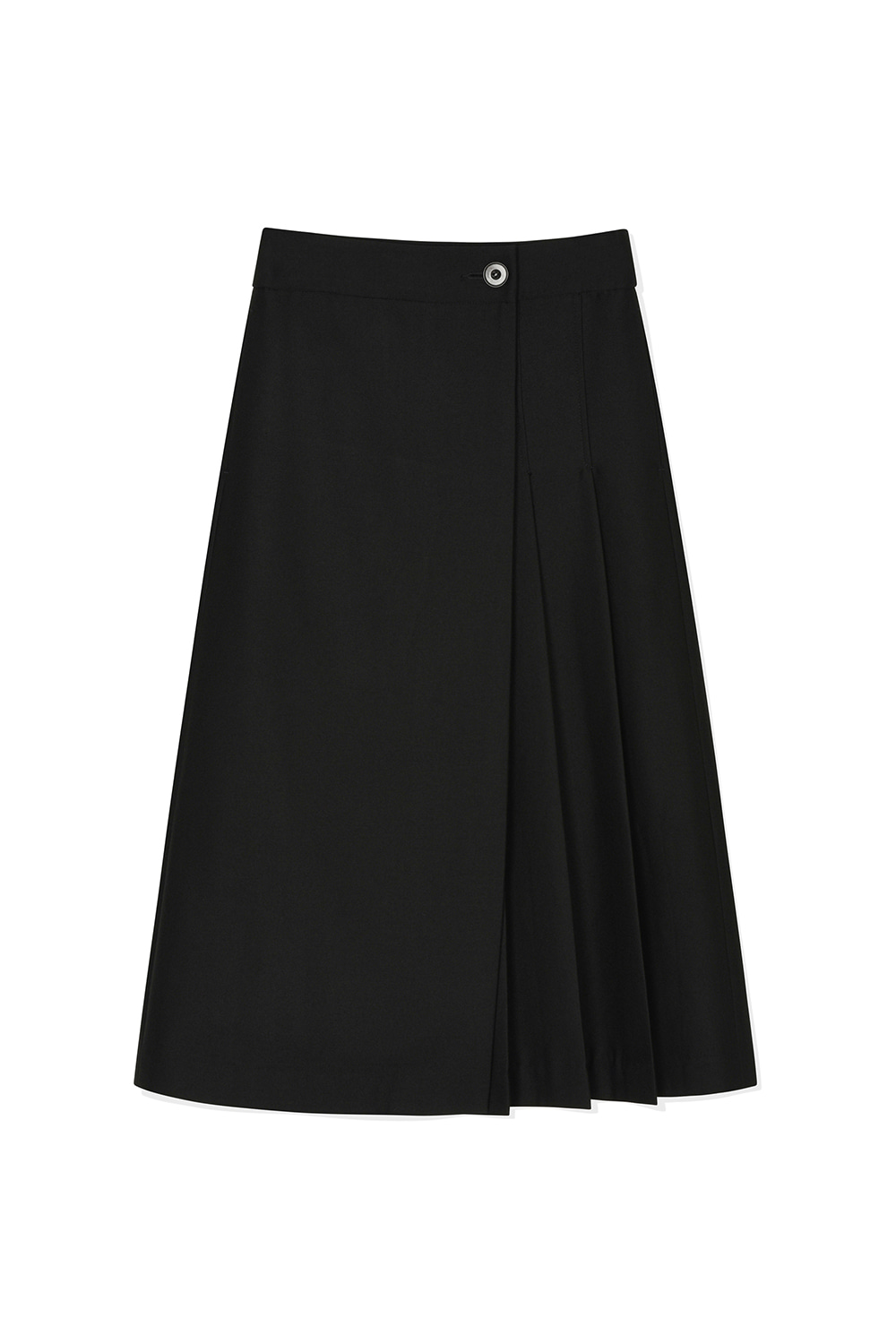 Wool Pleats Wrap Skirts Women JA [Black] -10%