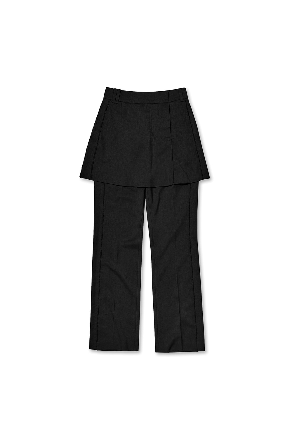 CUT OFF LAYERED PANTS KS [BLACK]