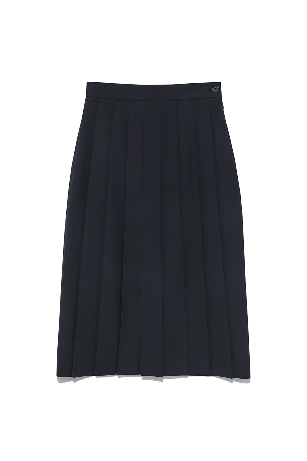 Unbalance Pleats Skirt Women [Navy]