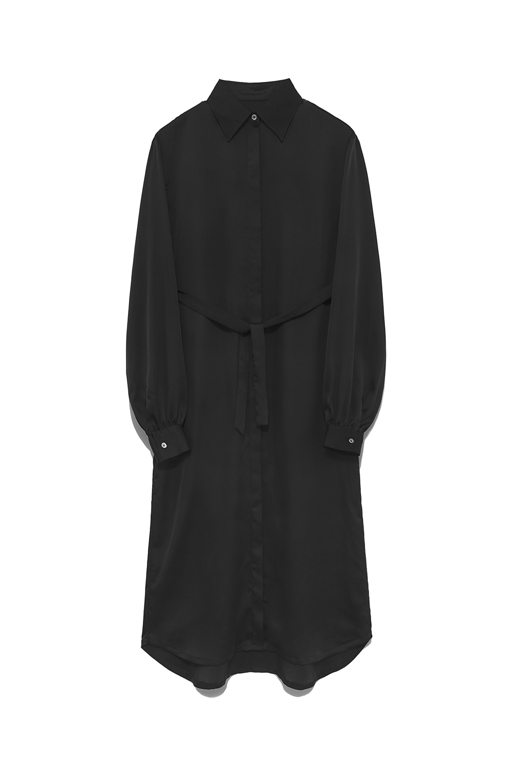 Satin Long Shirts Dress Women [Black]