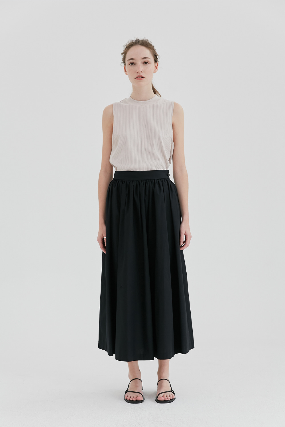 Shirring Long Skirt Women [Black]