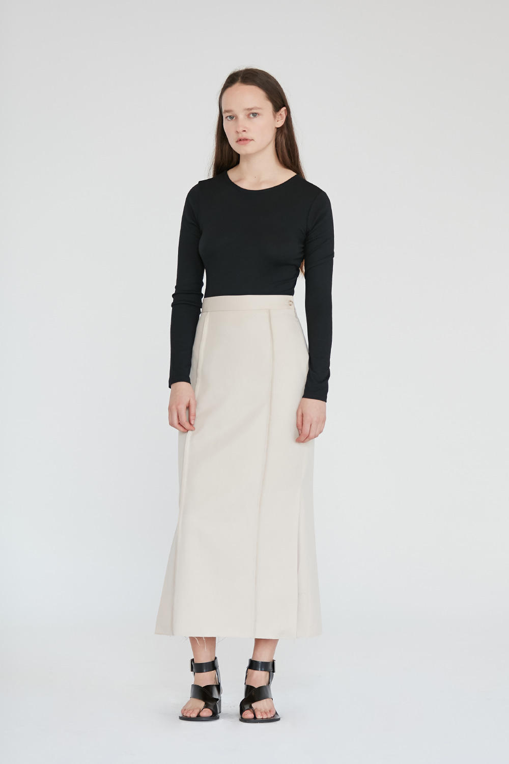 Side Slit Long skirt Women [Ivory]