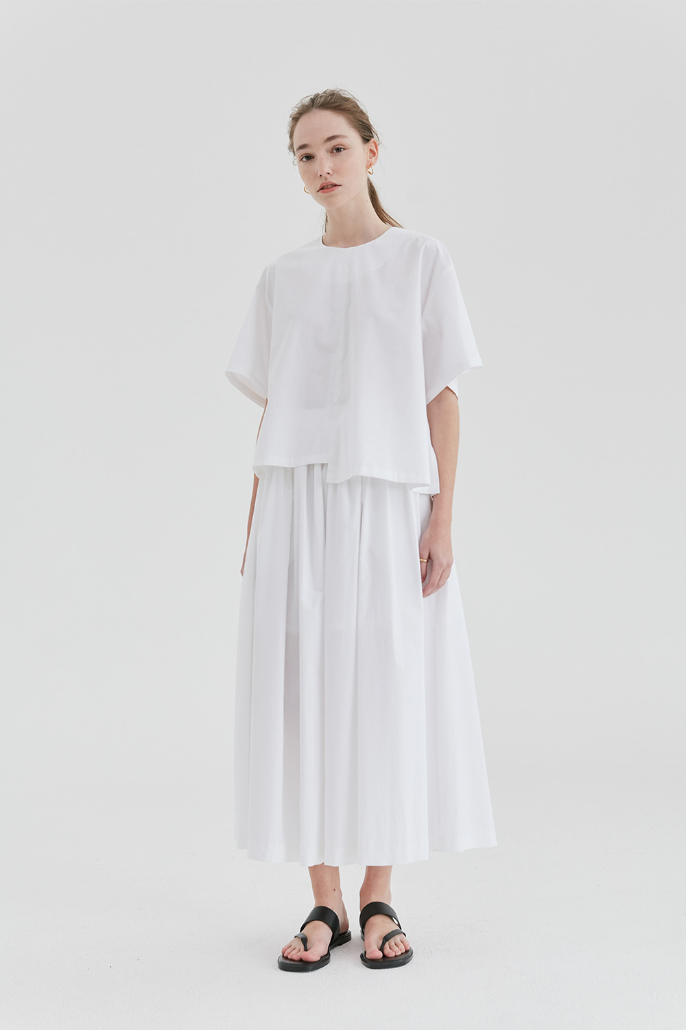 Shirring Long Skirt Women [White]