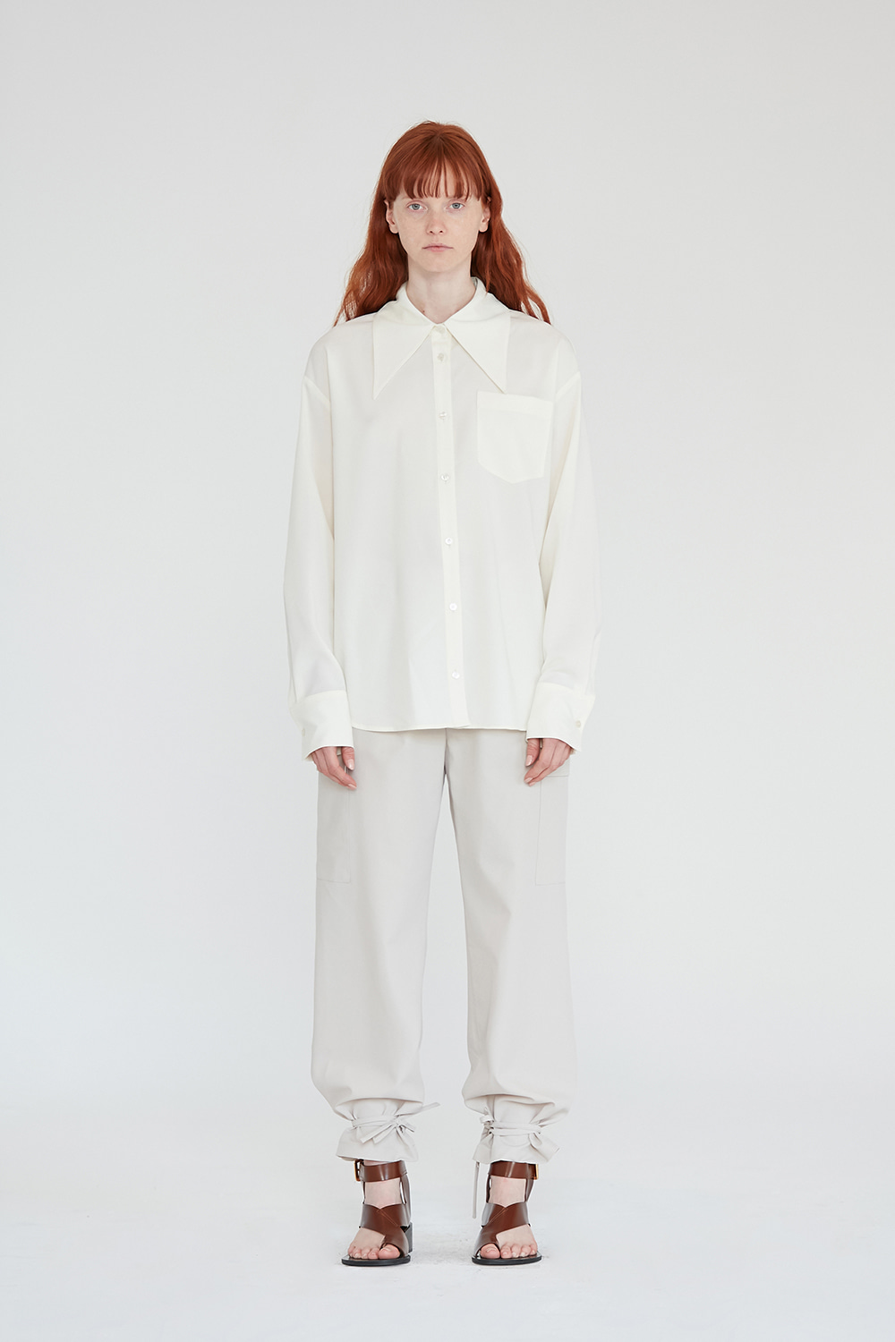 Wide Collar Shirts Women [Ivory]