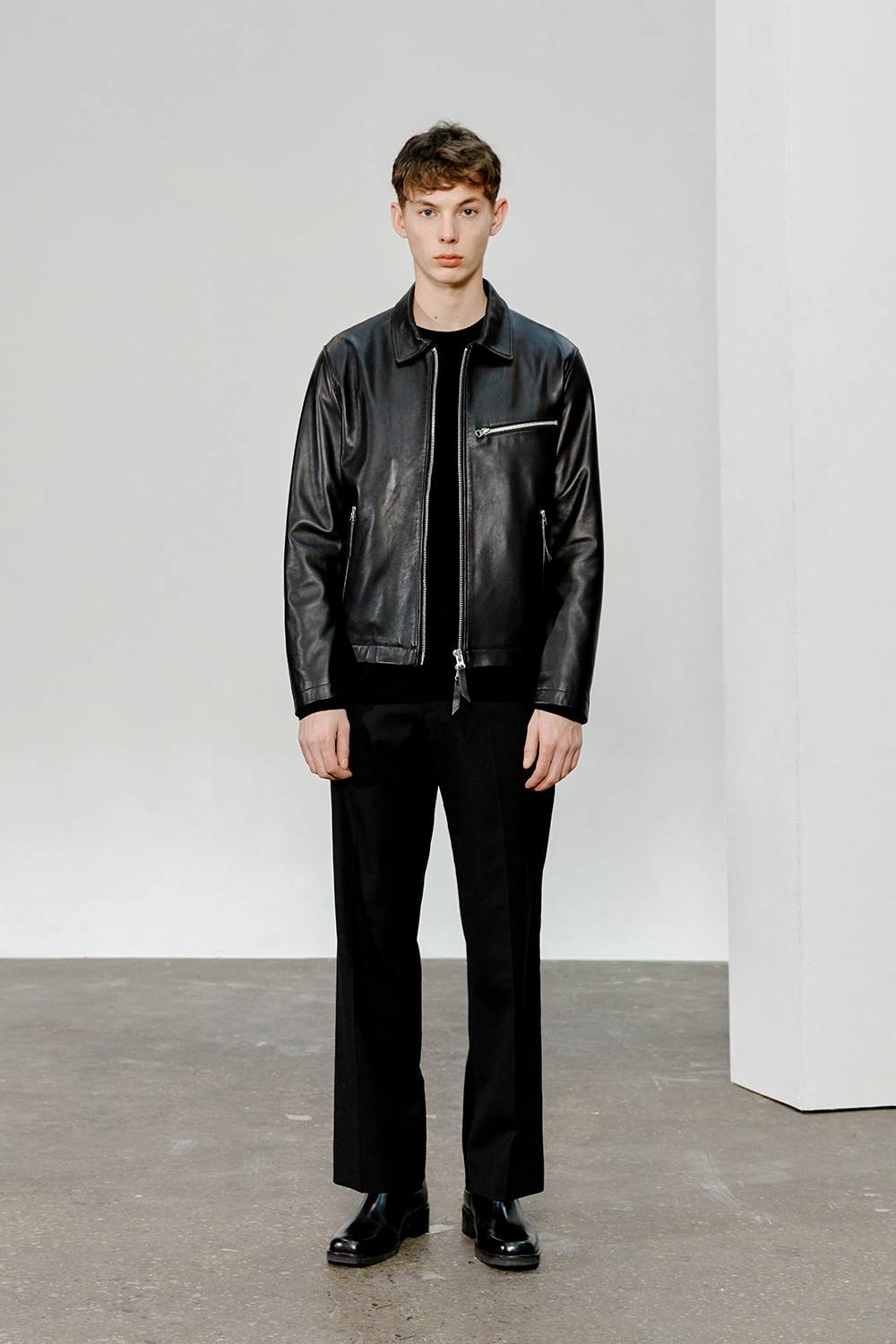 Single Leather Jacket Men [Black]