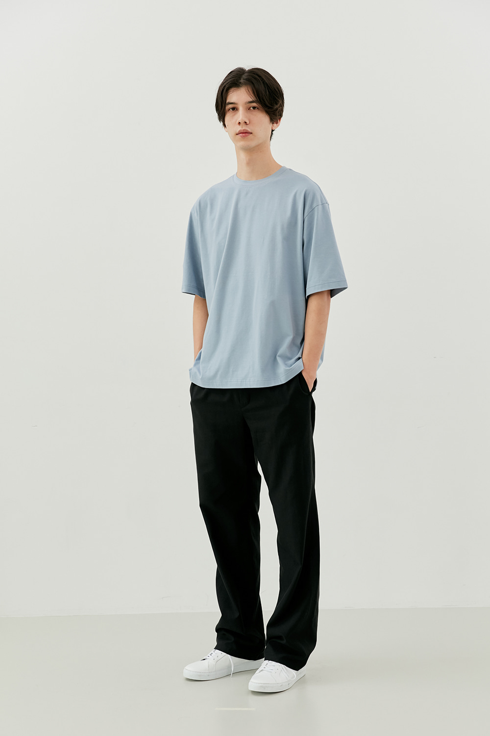 Semi Over Fit Tee Men [Pastel Blue]