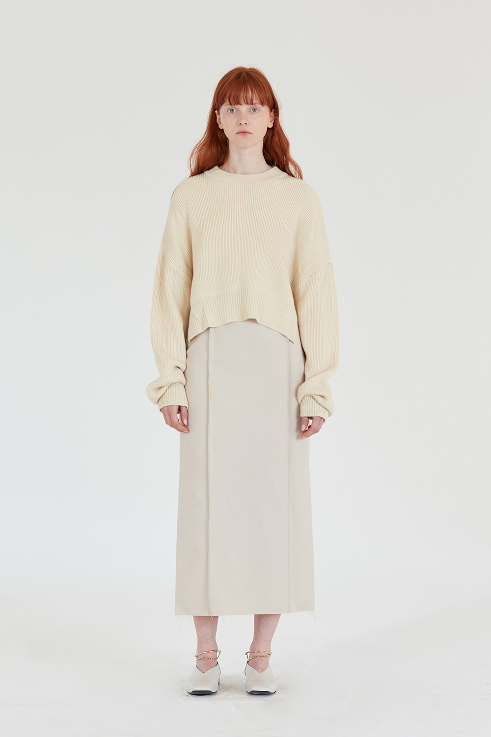 Slit Knit Crewneck Women [Cream]