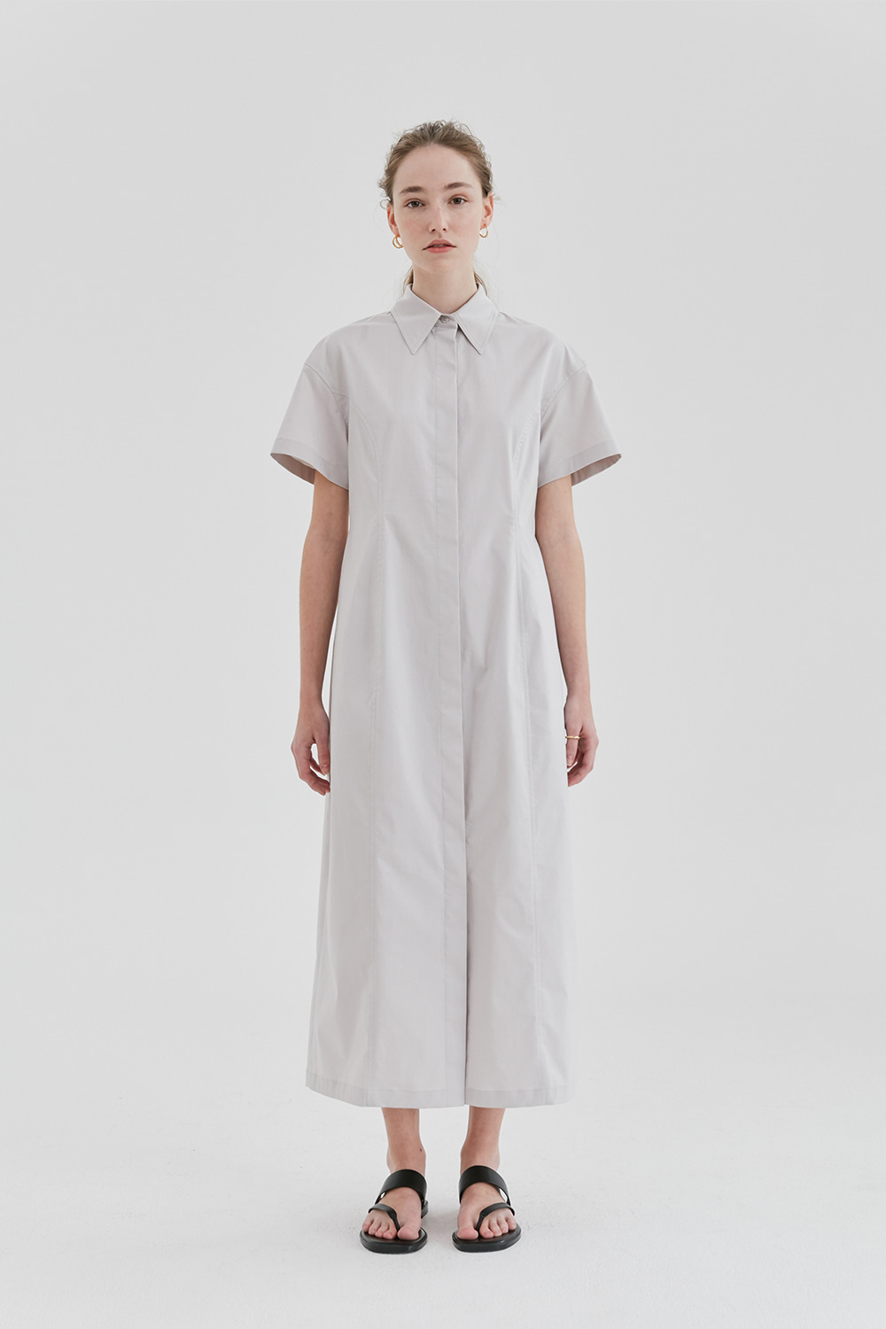 Curve Shirts Dress Women [Light grey]