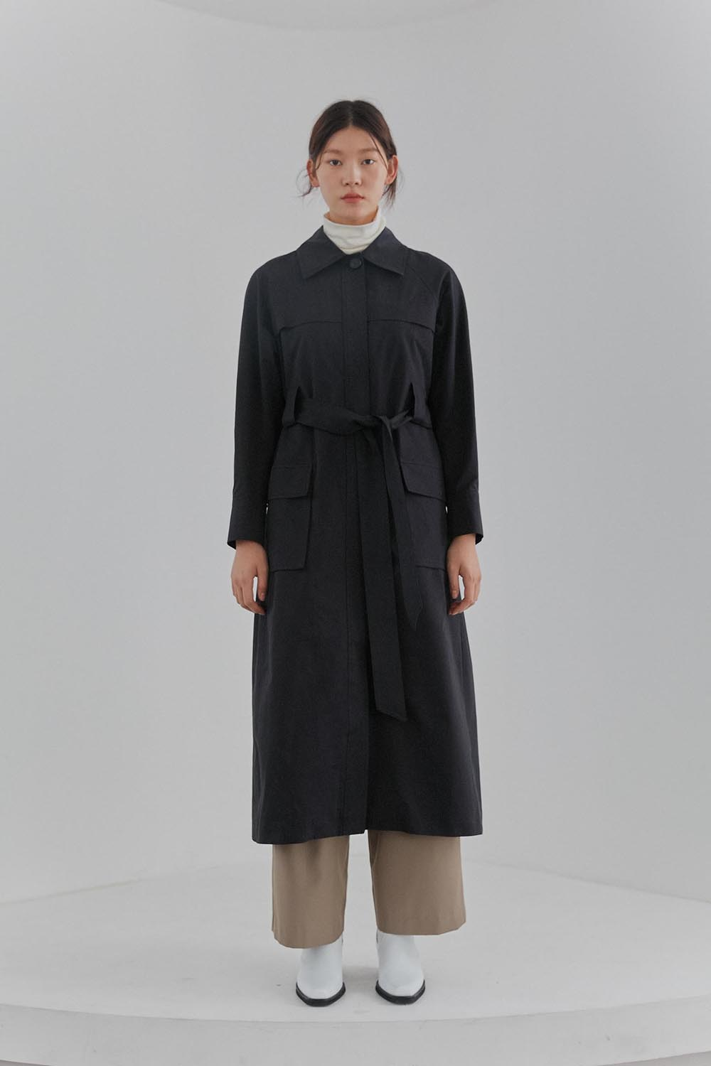Pocket Trench Coat Women [Black]