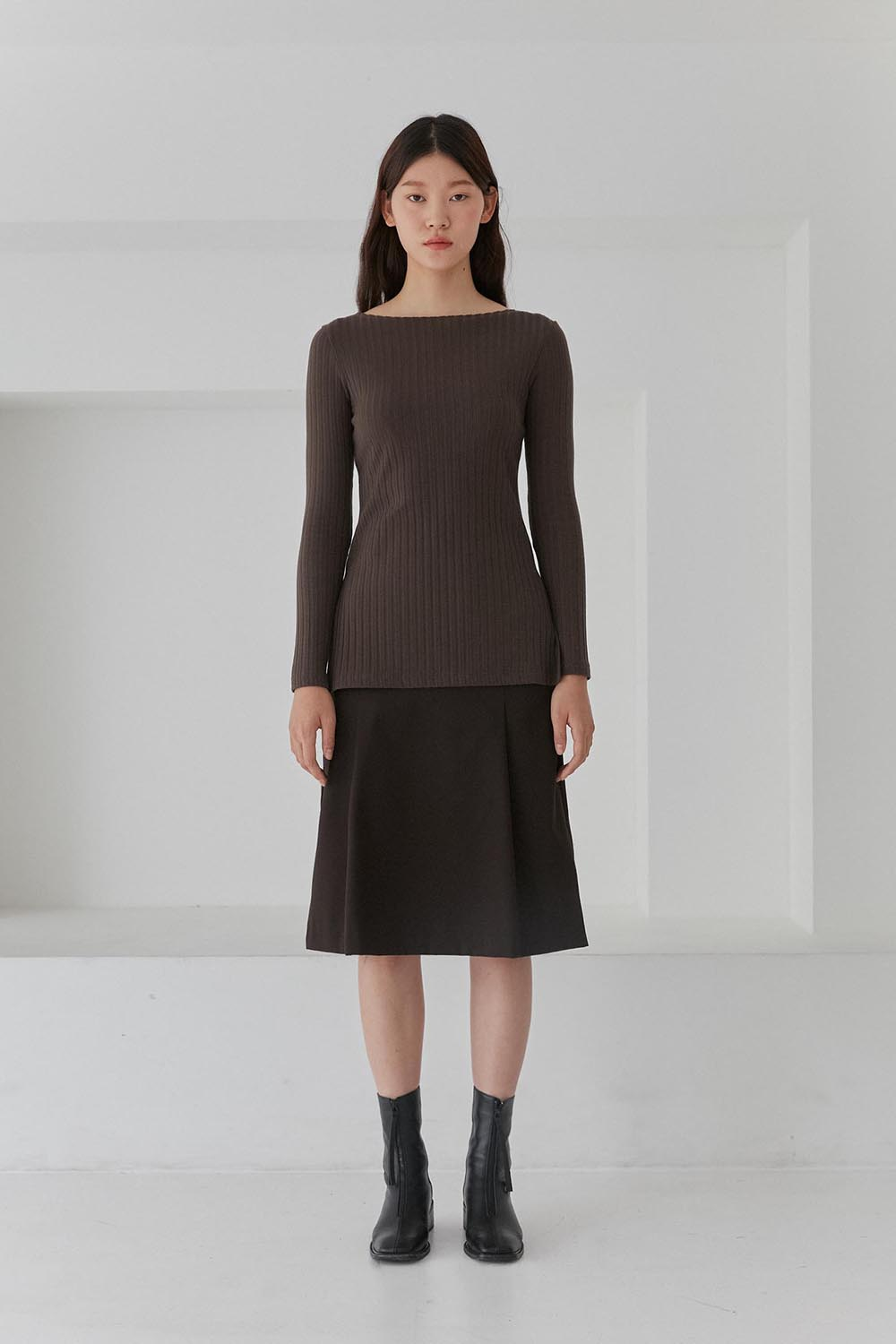 Slit Long Sleeve Tee Women [Brown]