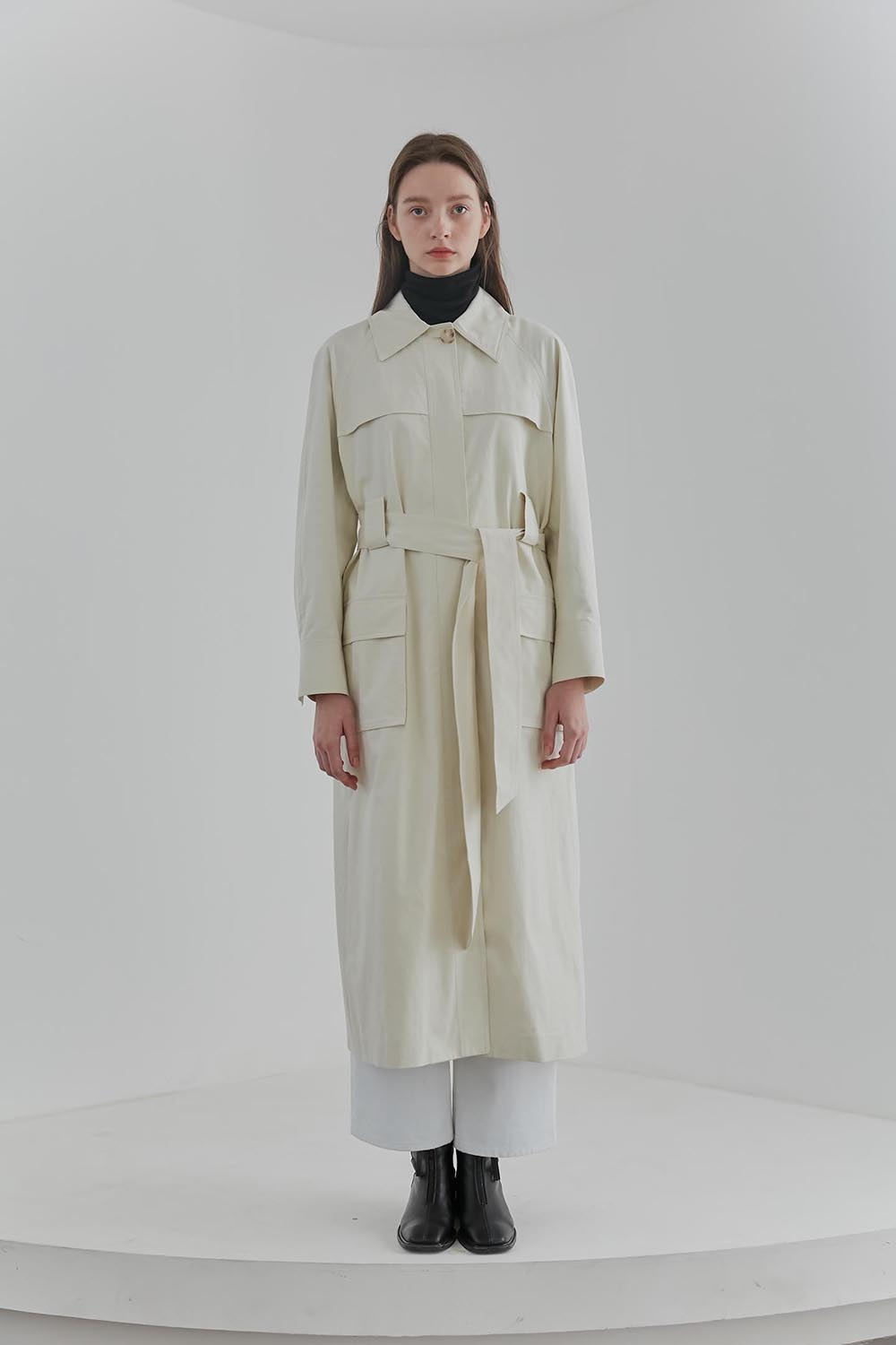 Pocket Trench Coat Women [Ivory]