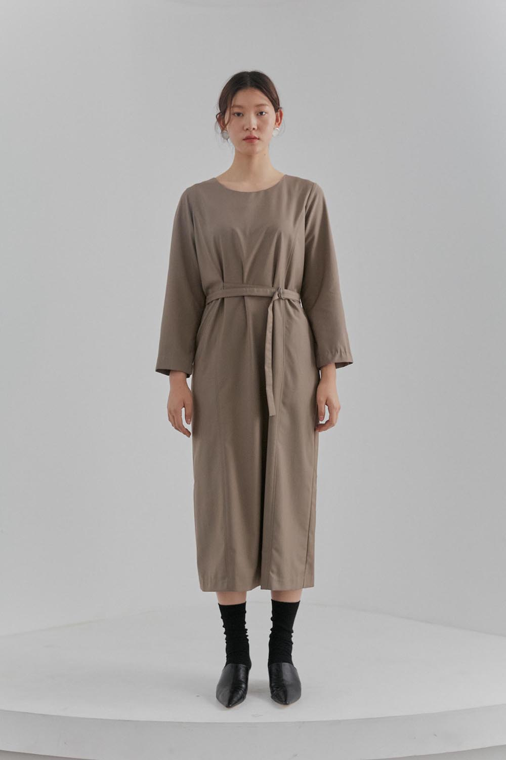 Belted Dress Women [Beige]