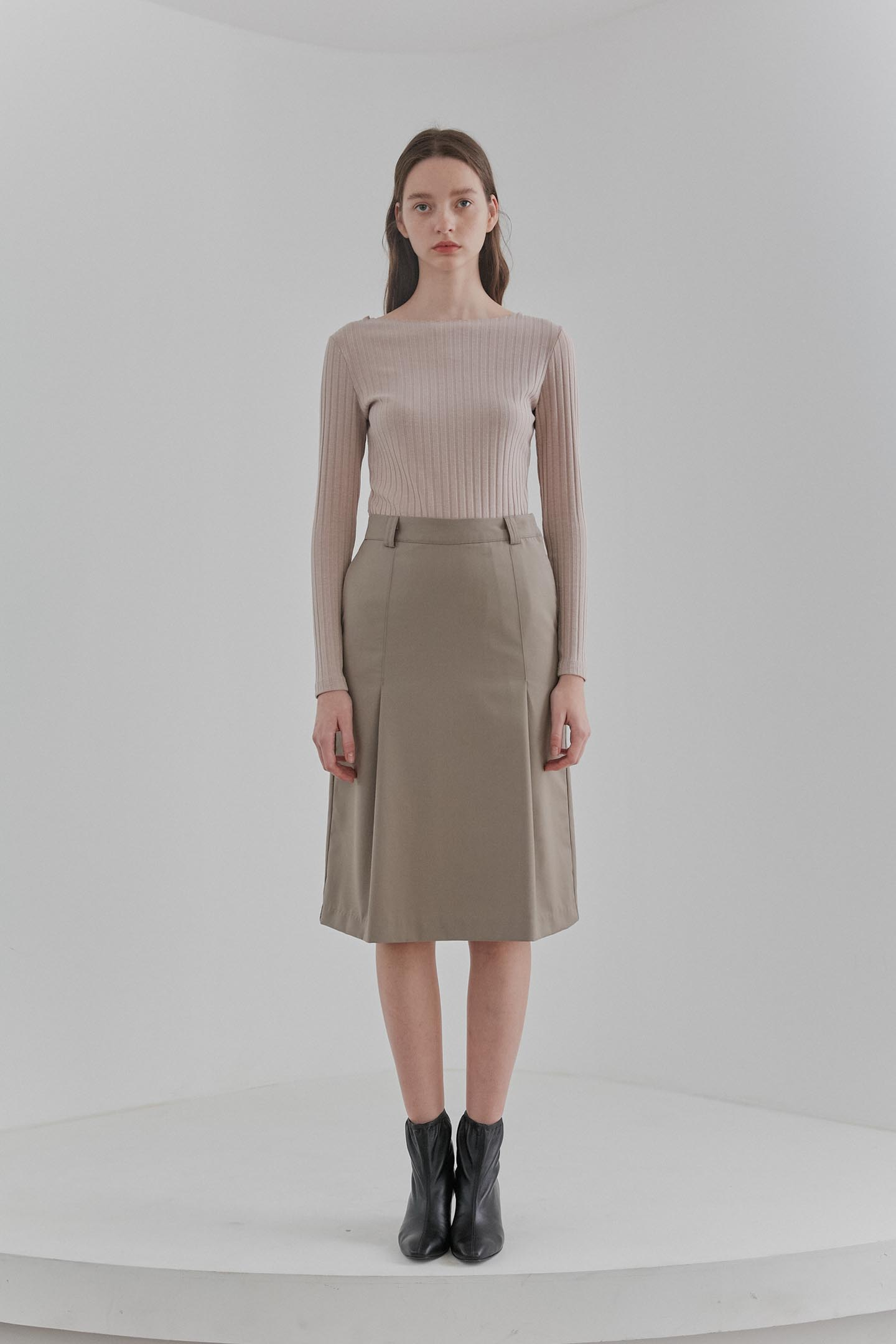 Tuck Midi Skirts Women [Dark Beige]