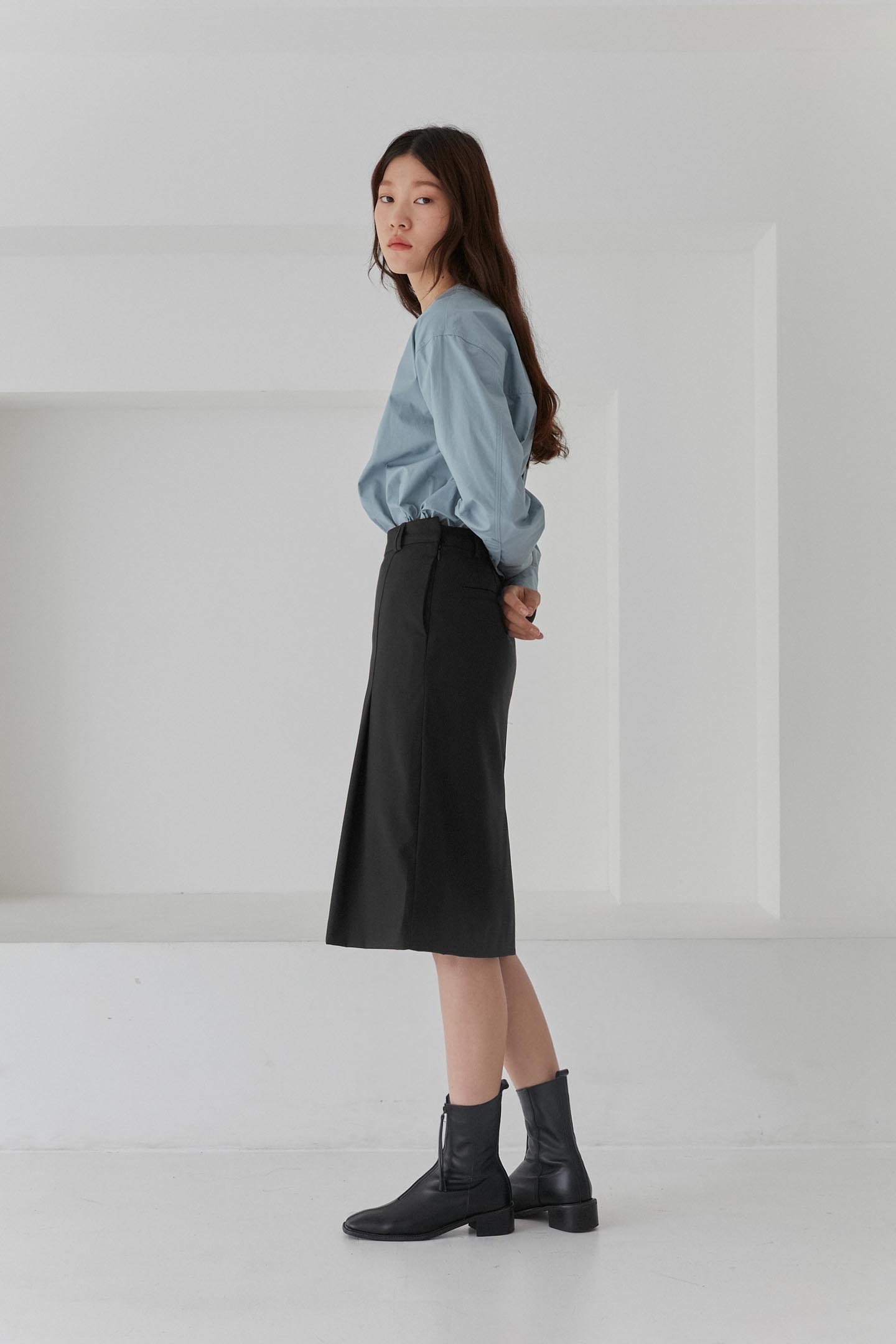 Tuck Midi Skirts Women [Black]