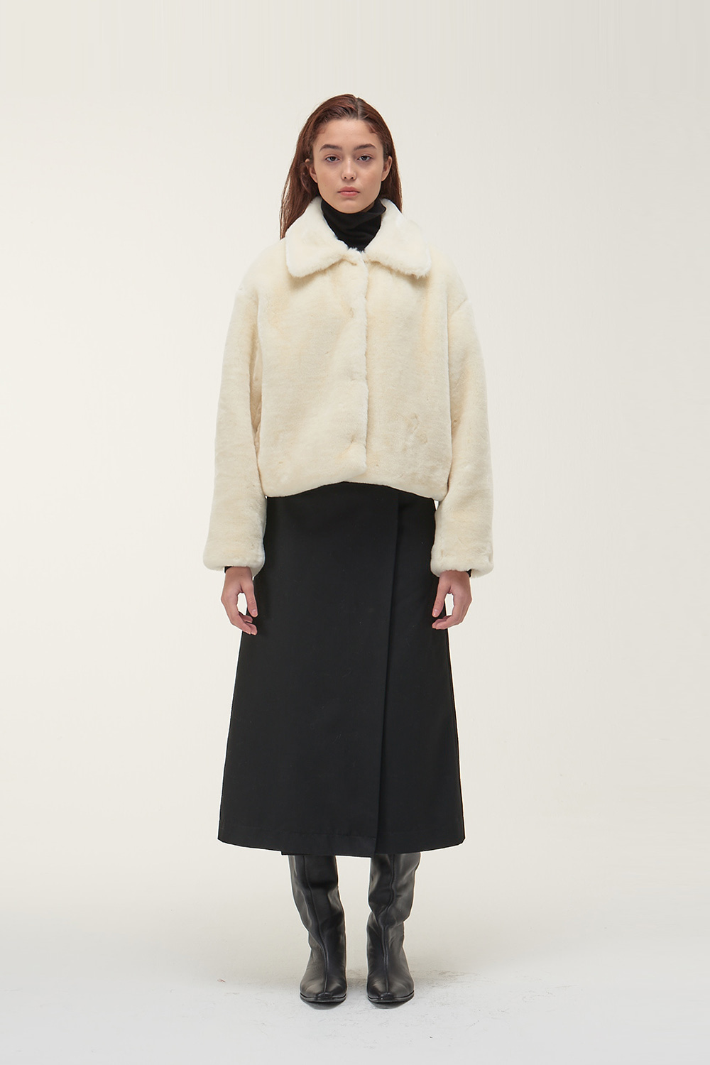 Fur Crop Jacket Women [Ivory]