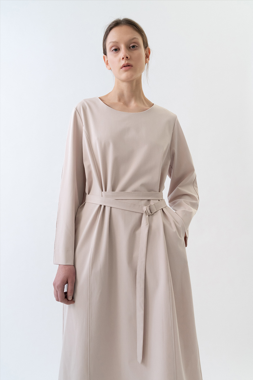 Belted Dress Women [Cream]
