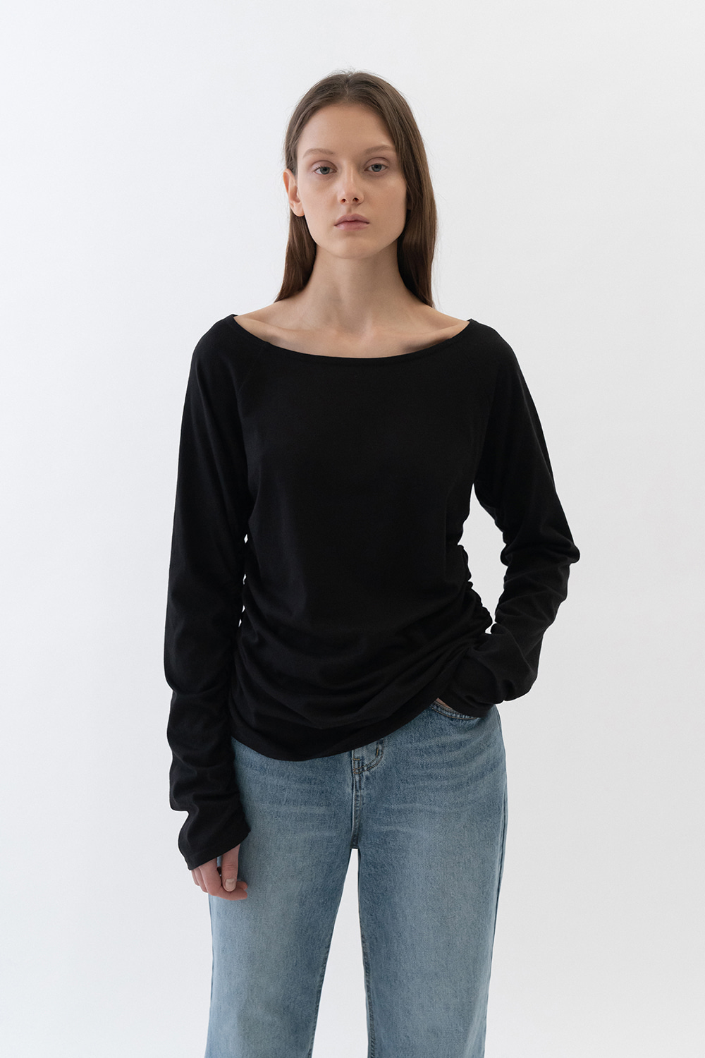 Shirring Tee Women [Black]