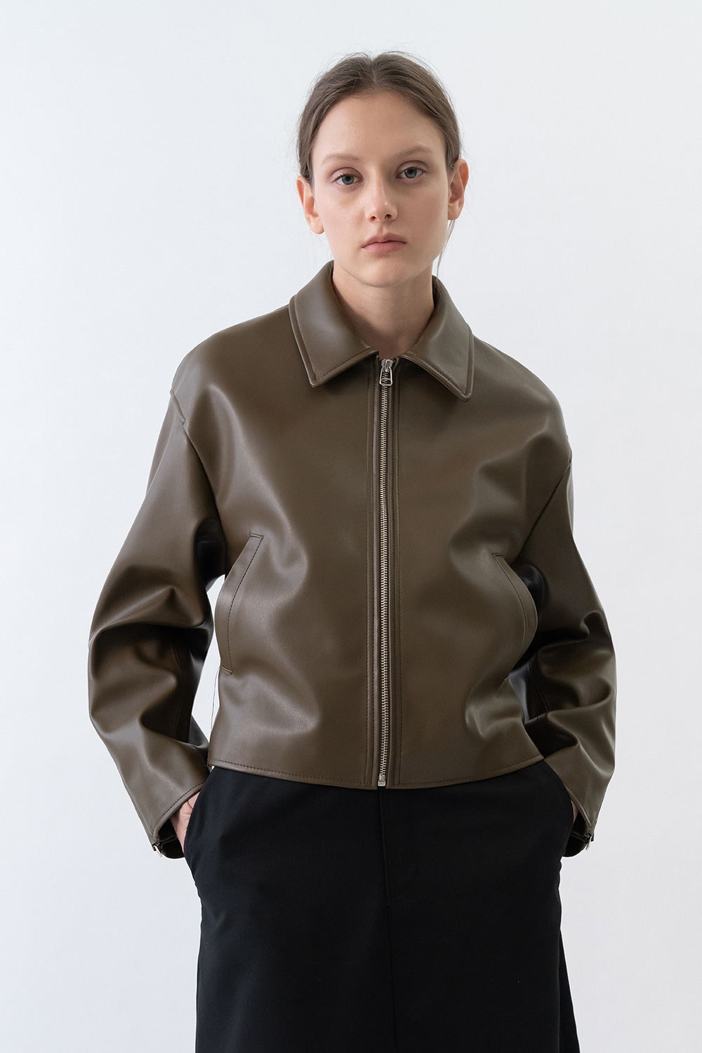 Single Leather Jacket Women [Brown]