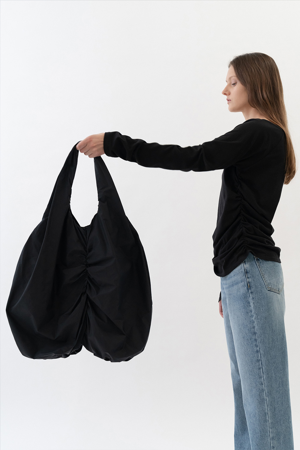 Shirring Shopper Bag Women [Black]