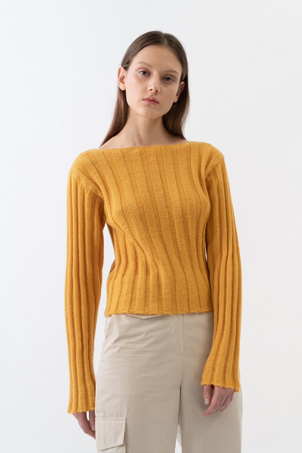 Kid Mohair Fitted Knit Women [Light Orange]