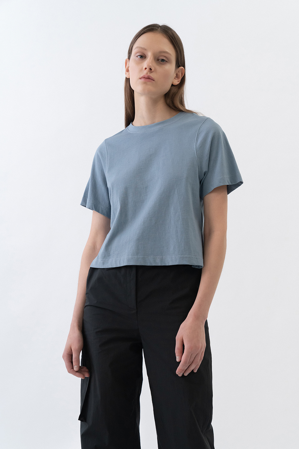 Round Neck Cropped Tee Women [Indigo Blue]