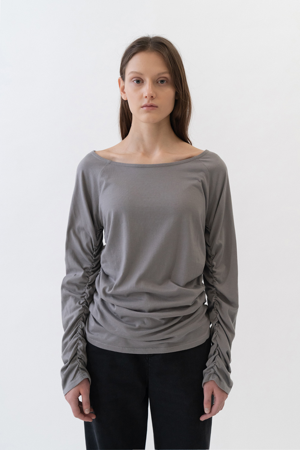 Shirring Tee Women [Gray]