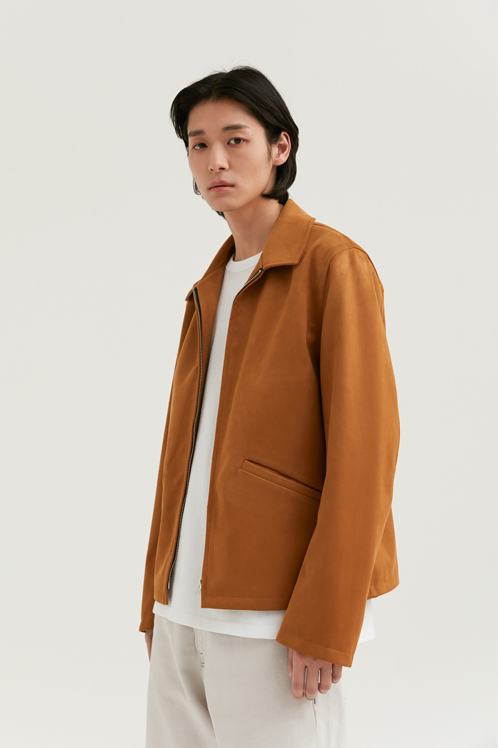 Minimal Leather Jacket Men [Dark Beige]