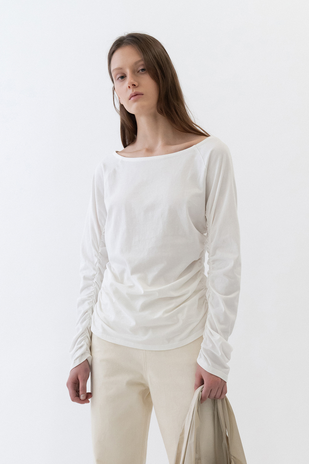 Shirring Tee Women [White]