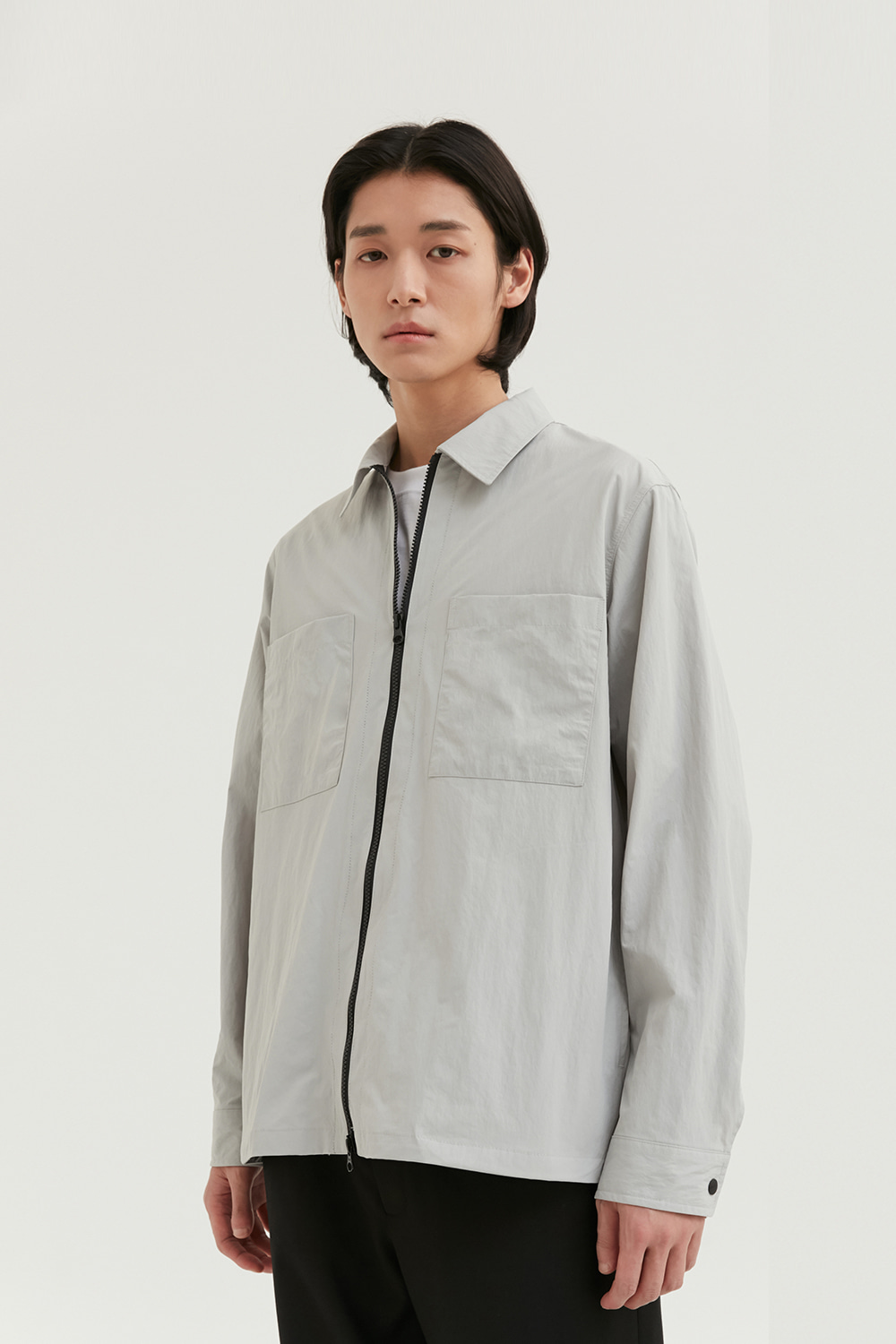 Zip Up Shirts Men [Light Gray]
