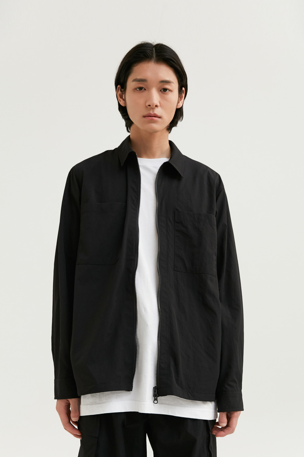 Zip Up Shirts Men [Black]