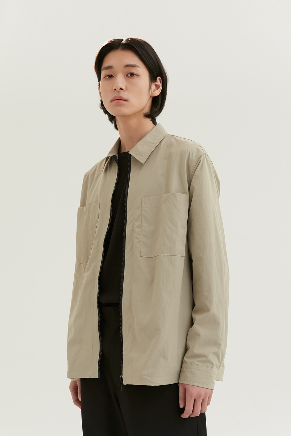 Zip Up Shirts Men [Dark Beige] -50%