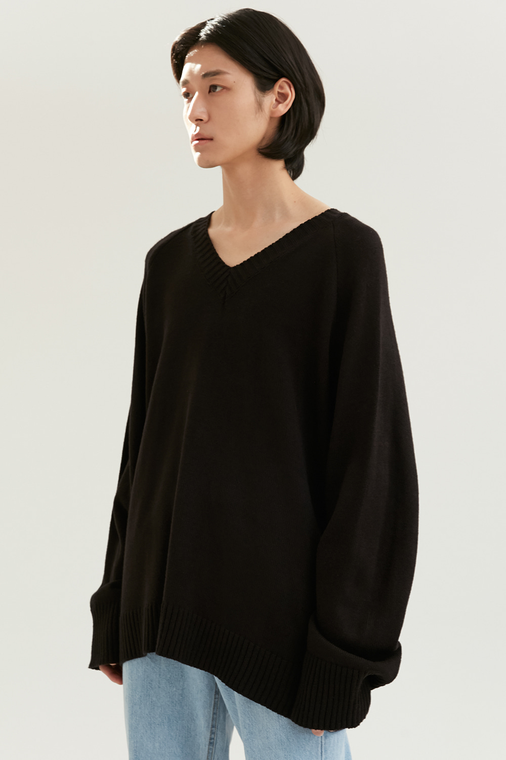 V Neck Knit Men [Black]
