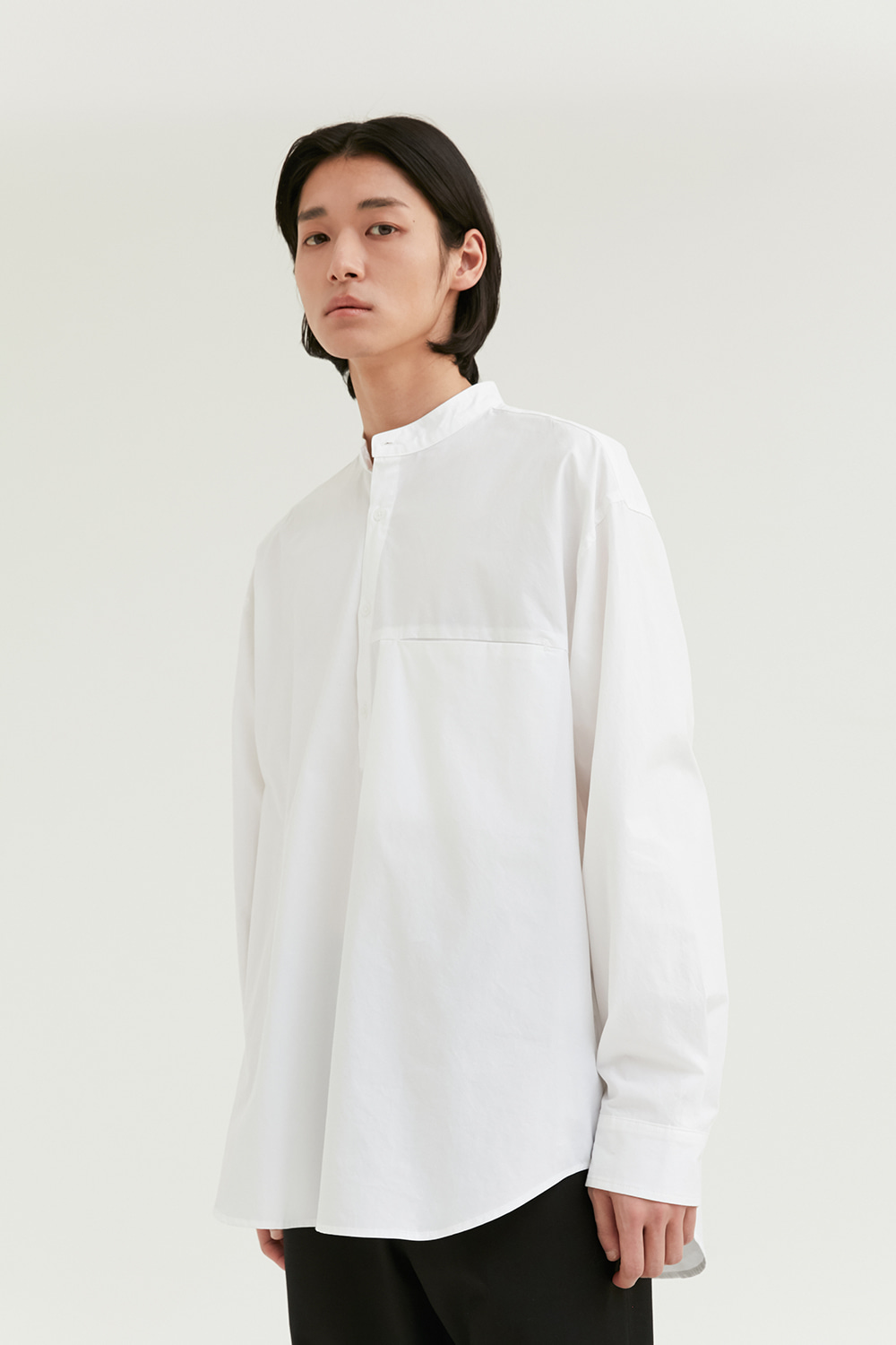 Half Band Collar Shirts Men [White]
