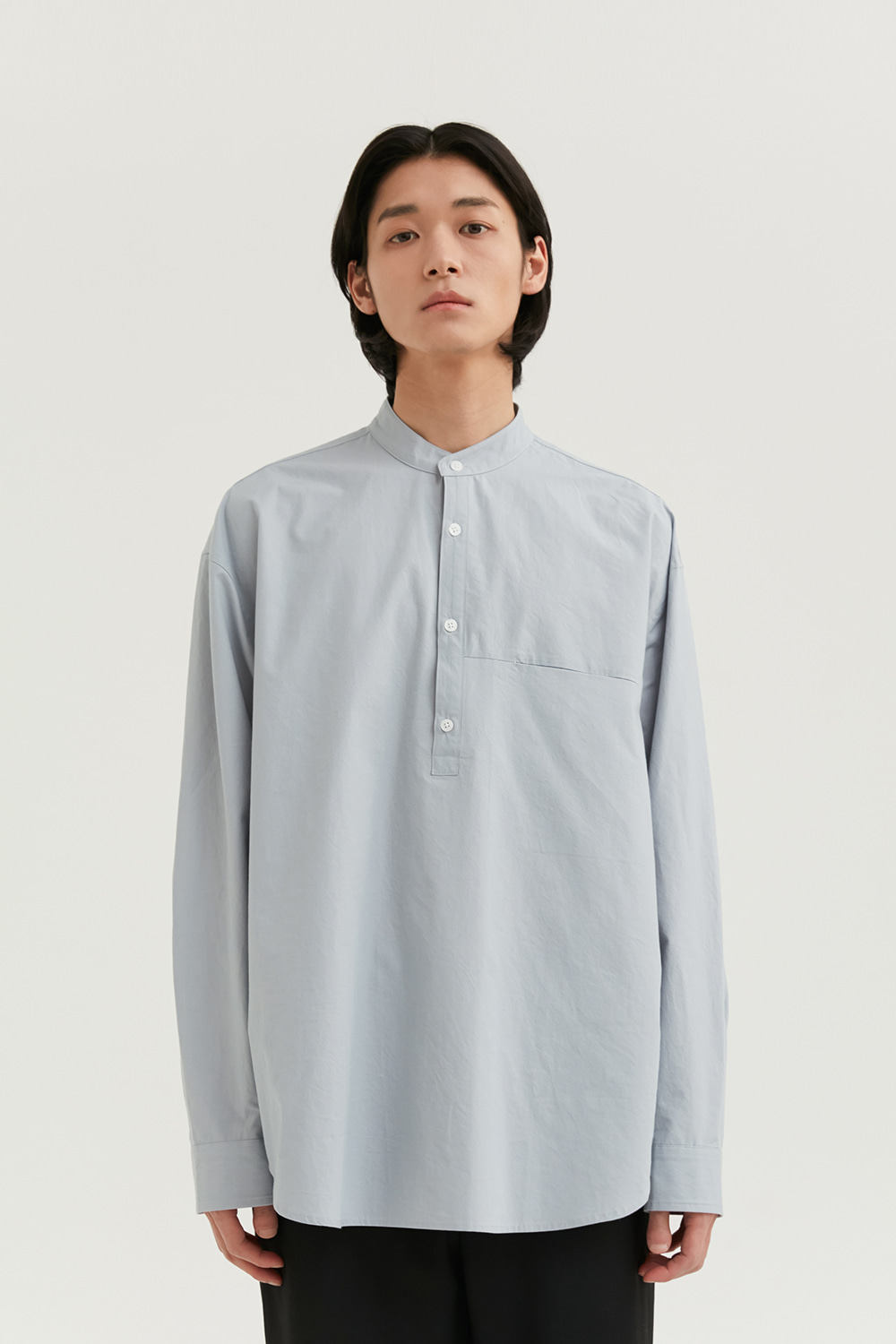 Half Band Collar Shirts Men [Light Mint]