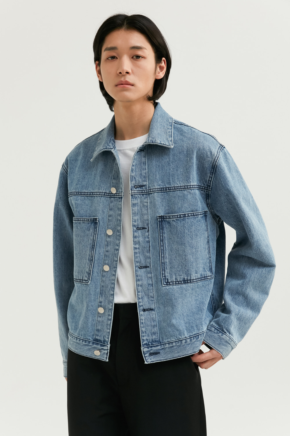 Two Pocket Denim Jacket [Indigo Blue] -60%