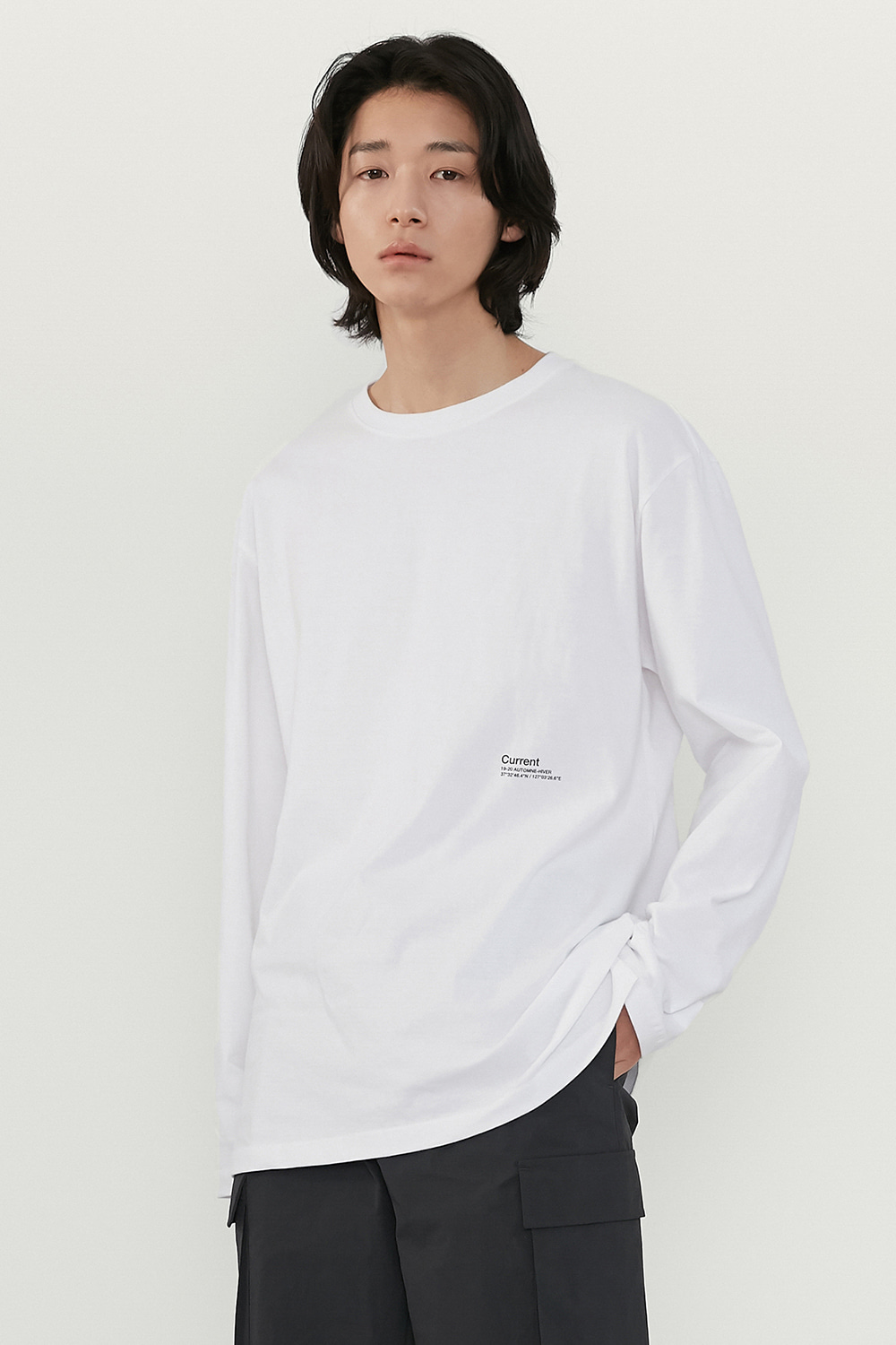 Logo Long Sleeve Men [White]