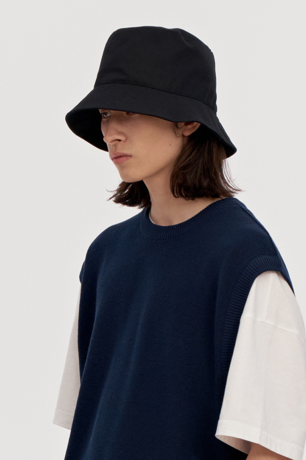 Cotton Bucket Hat Men [Black]