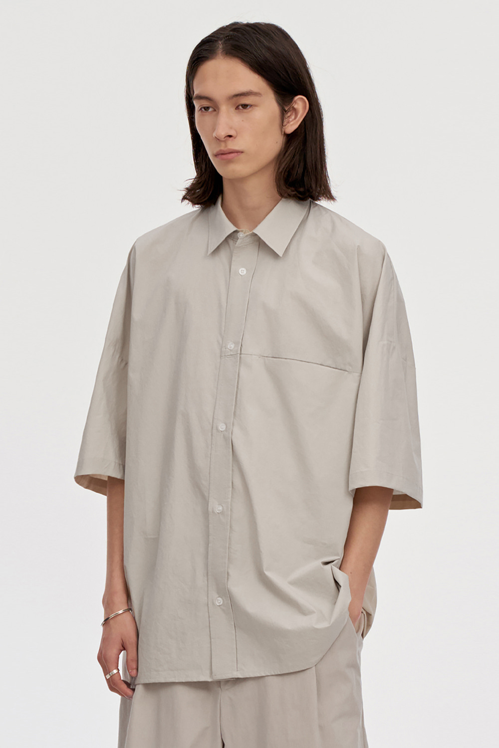Oversized Box Shirts Men [Beige]