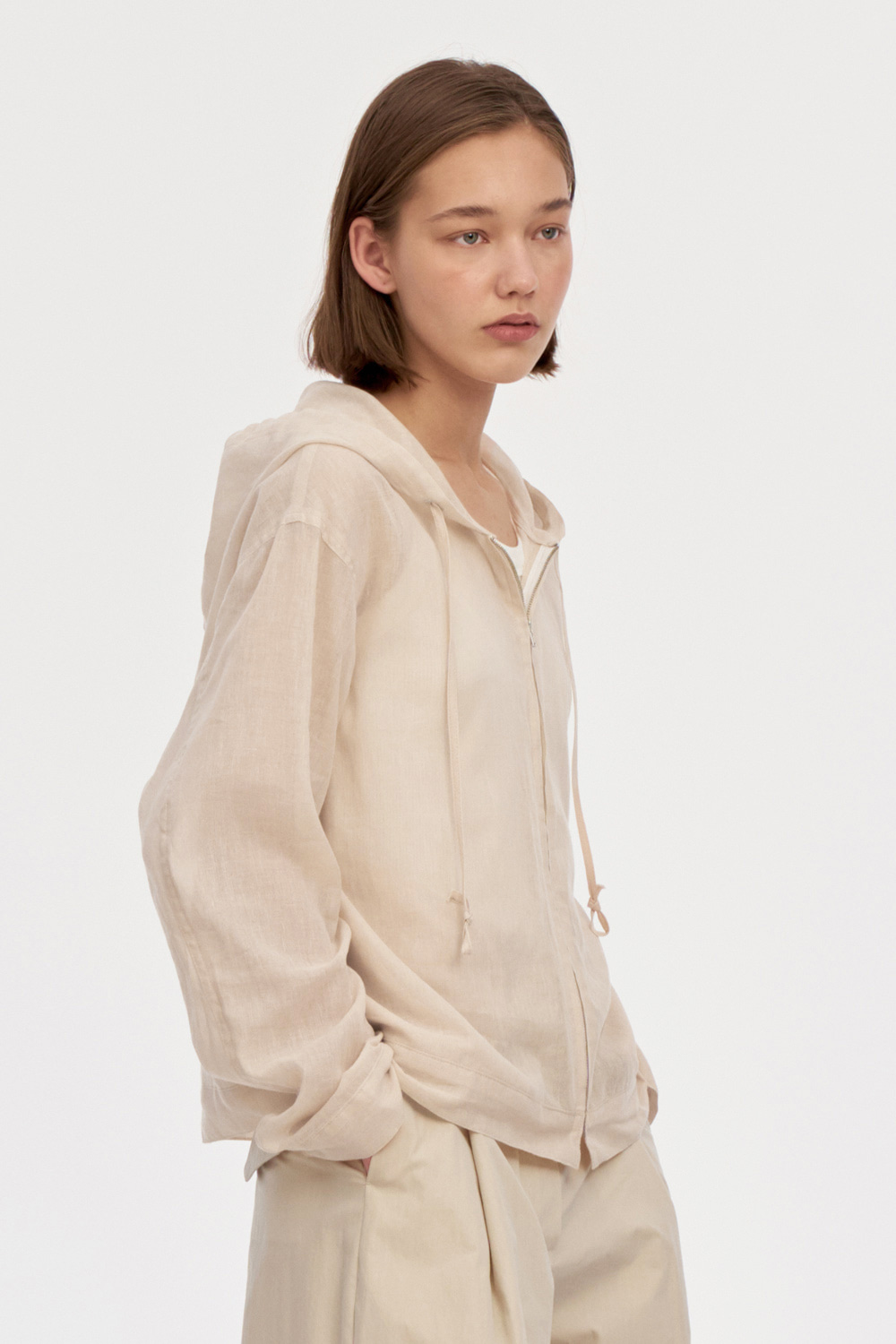Light Hood Zip Up Women [Beige]