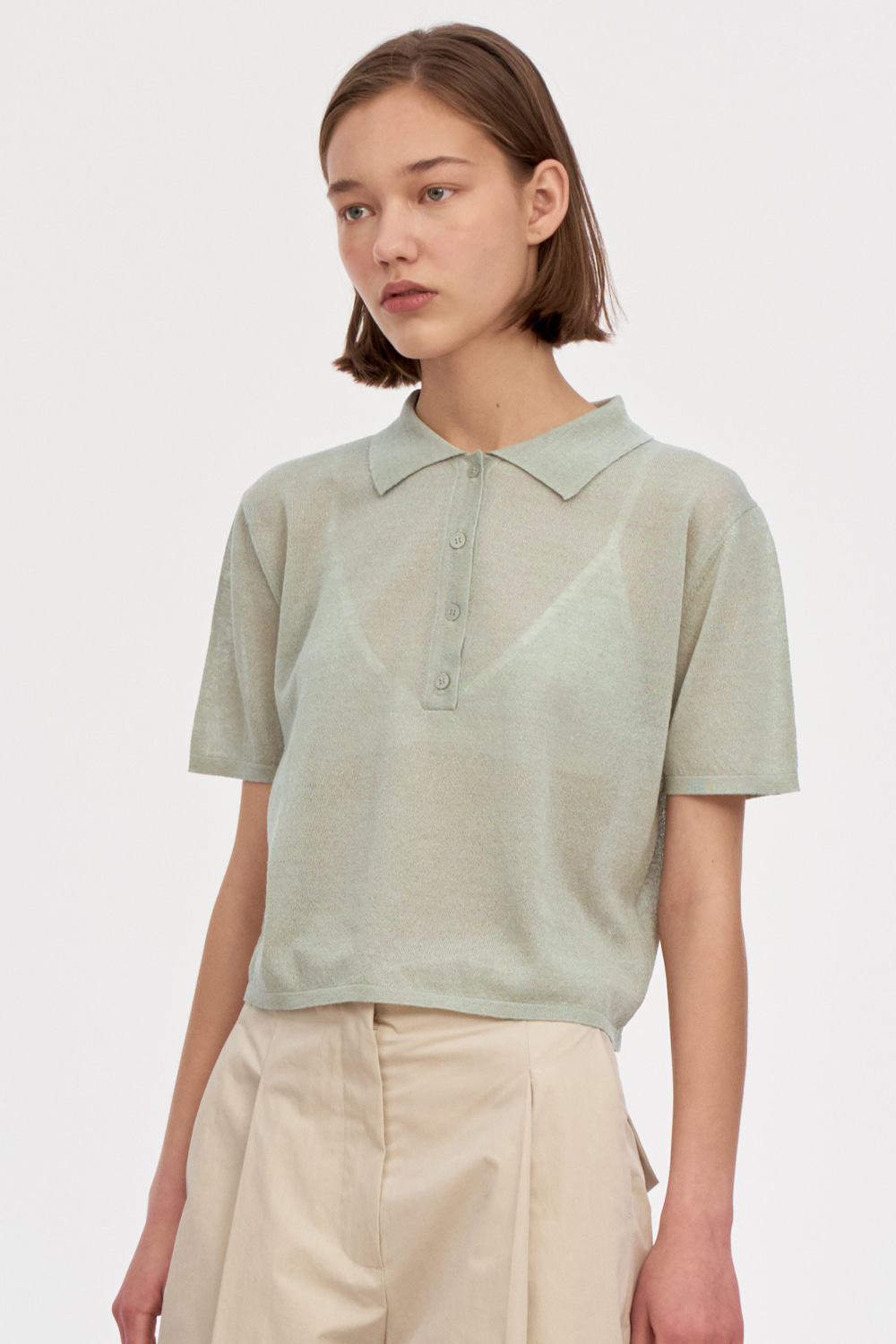 Half Placket Summer Knit Women [Khaki Gray]